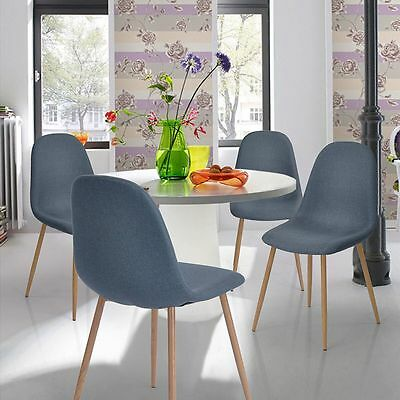 New Retro Chair Set Fabric 4 x Dining Seat Chairs Backrest Modern Furniture