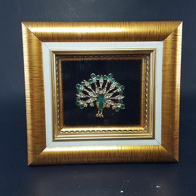 Frame Gold Jewelry Elaborate Gilt Metal Peacock Pattern Wall Table Decor