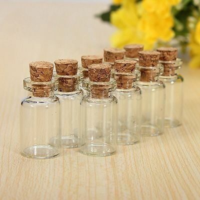 Clear Mini Small Cork Stopper Glass Vial Jars Containers Bottle Bulk