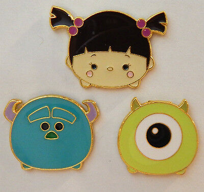 3 MONSTERS, INC. TSUM TSUM DISNEY TRADING PIN LOT mike sulley boo character pins