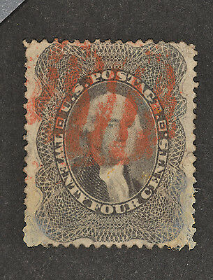 US Sc #37 24c Grey-Lilac Used F-VF CV $375+$65 1857-61 SG41 Red Cancel Repaired