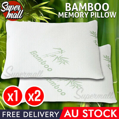 1x 2x Bamboo Contour Pillow Memory Foam Anti-bacterial 70x40 x11cm Vertebra Care