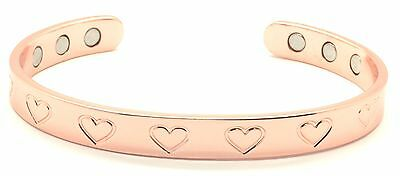 Copper Bracelet Magnetic Healing Therapy Pain Relief Heart Bangle Arthritis