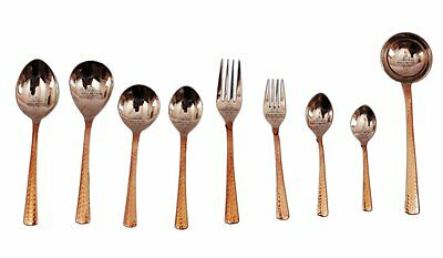 Handmade Copper Steel Cutlery Set of 9 Piece For Use Home Restaurant Hotel