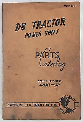 CATERPILLAR Parts Catalog D8 Tractor Power Shift Originale 1960 - 136 pp