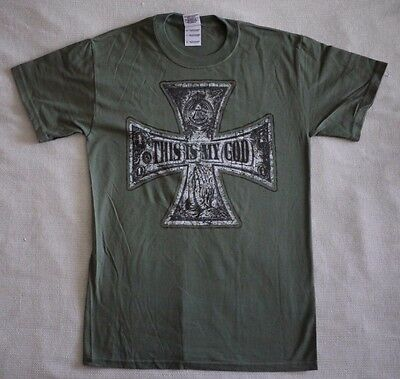 """T-shirt """"This is my god"""" olive green (S,M,XXL)"""