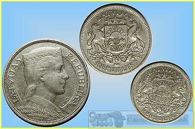Latvia, Group of 3 Silver Coins, 1, 2 and 5 Lati