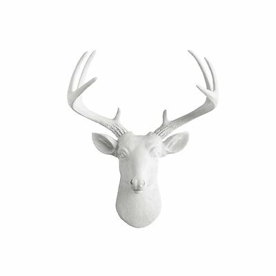 Mini Deer by Wall Charmers | White Faux Head Mount Bust Fake Animal Resin...