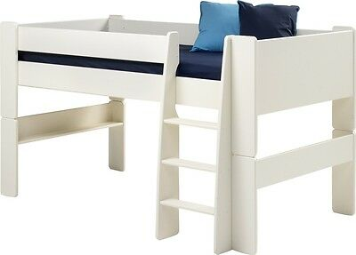 NEW Steens Kids Mid-Sleeper Frame Bed with Ladder, White