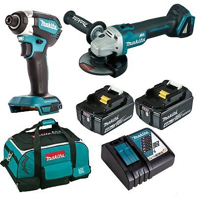 Makita LXT 18V Brushless Impact Driver Angle Grinder Combo 4.0Ah Kit - AU MODEL