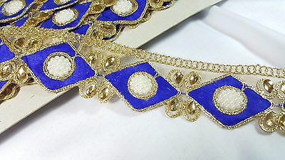 4cm- 1 meter Beautiful blue and gold beaded pearls embroidered lace trimming
