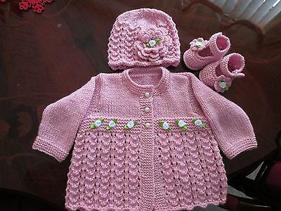 ideal gift for  baby.hand knitted/crochet cardigan/ hat/shoes size 0-3 months.