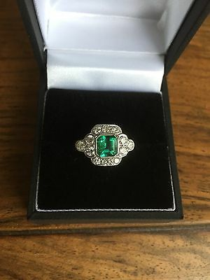 Emerald and Old Cut Diamond Cluster Ring 0.95ct + 0.60ct 18CT White Gold