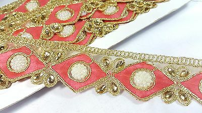4cm- 1 meter Beautiful carrot pink and gold beaded pearls lace trim for crafts