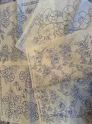 Vintage 1930s 40s Needlework Embroidery Transfers x4 Floral Flowers Etc   (2)