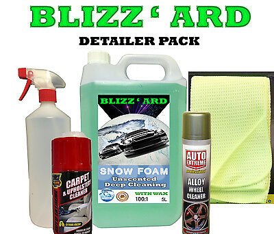 DETAILER PACK Snowfoam + Extras. Alloy / Carpet/ Spray Bottle/ Cloth Cleaning