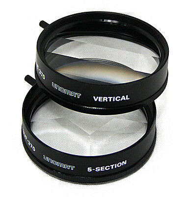 2x Set 52mm Effect Video Filter UVF-370 Trick lens 3/5 compartment 49mm 46mm