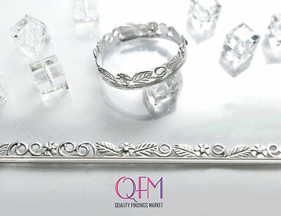 3pcs Fine Silver 999 Casted Gallery Bezel wire with flowers and leaves 2.5 Inch