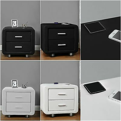New Faux Leather Bedside Table Drawers With Built In Bluetooth Speakers