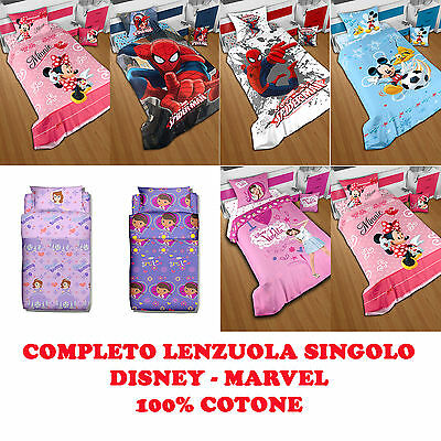 Set Lenzuolo Disney Minnie Spiderman Topolino Violetta Sofia Dotty Peluche