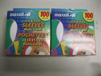 Maxell CD and DVD Sleeves Multi-Color 100 count 2 Pack