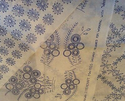 Vintage 1930s 40s Needlework Embroidery Transfers x3 Floral Flowers Etc   (8)