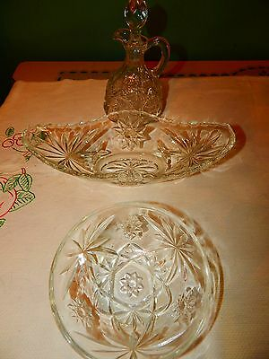 Vintage Anchor Hocking Glass Star of David EAPC Serving Celery Cruet Berry Bowl