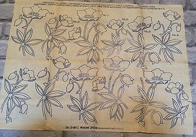 Vintage 1930s 40s Needlework Embroidery Transfers Floral Flowers     (9)