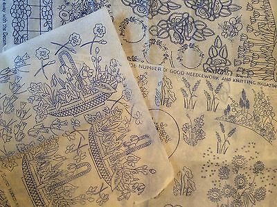 Vintage 1930s 40s Needlework Embroidery Transfers x3 Floral Flowers Etc   (10)