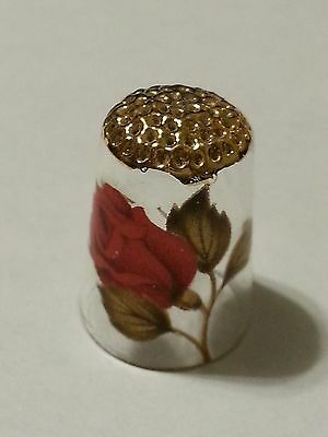Rare made of Glass Painted Red Rose & gold Sewing Thimble Decorative Collectible