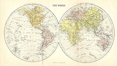 Antique Map, The World, Western And Eastern Hemisphere's 1908