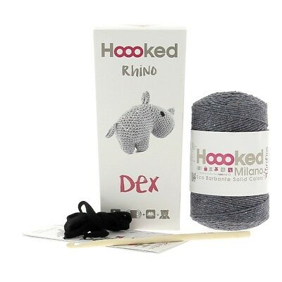Hoooked Amigurumi DIY Crochet Kit Rhino Dex Lava Grey