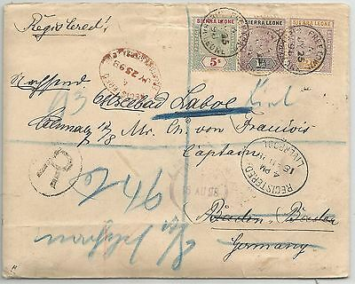 Sierra Leone 1898 Qv Reg Cover To Germany (Redirected)Franked 5/- Cat £2000 On C