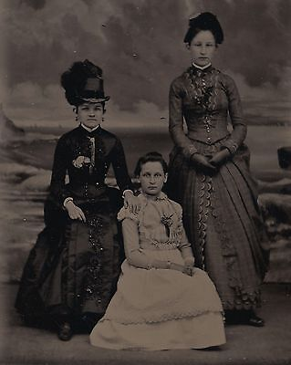 Old Vintage Antique Tintype Photo Pretty Young Teen Girls In Beautiful Dresses