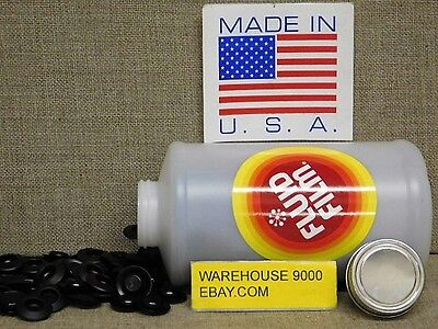 1 Empty Quart Fluid Film Bottle with 200 Rust Plug Buttons~No Fluid Included~
