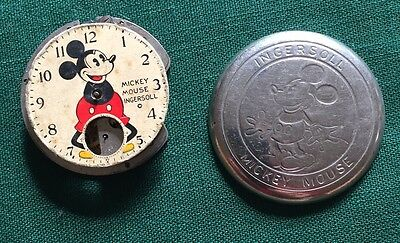 Vintage 1930's Mickey Mouse Ingersoll Pocket Watch PARTS