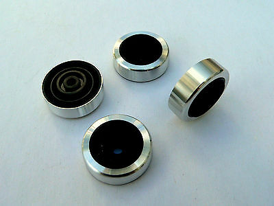 45mm Turned Aluminium Silver Feet x 4 for HiFi Amplifier Cabinet