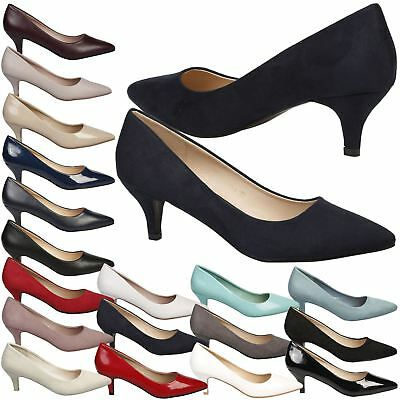 Miranda Womens Low Mid Kitten Heels Slip On Court Shoes Ladies Pumps Office Size