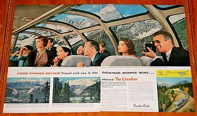 Awesome 1957 Canadian Pacific Train Observation Car In Rockies Ad - Vintage Cp