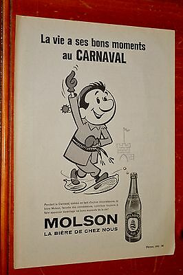 French 1961 Molson Beer & Carnival Theme Canadian Ad - Vintage Biere 50S Retro