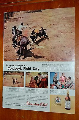 1959 Canadian Club Rye Whisky Ad & Bull Fighting In Portugal - 1950S Vintage