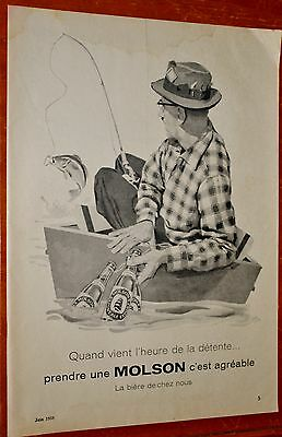 French 1958 Molson Beer Canadian With Man Fishing Ad - Vintage Biere 50S Retro