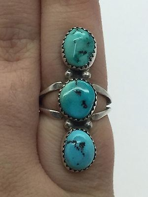 Vintage Navajo 925 Sterling Silver Ring With Turquoise Stones Signed RB