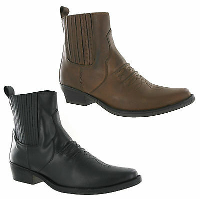 Gringos Gusset Cowboy Western Mens Leather Pull On Ankle Boots UK6-12