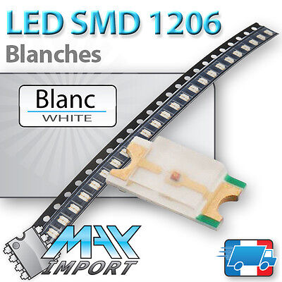LED SMD / CMS 1206 Blanches ( White - Blanc ) - Lots multiples, prix dégressifs
