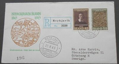 Iceland First Day Cover FDC 1963 with Registered sticker