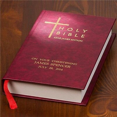 Personalised HOLY BIBLE Christening Baptism Holy Communion Confirmation (KVJ)