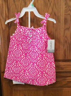 NEW NWT Girls  CARTERS Outfit 2 Piece Pink White Top White Leggings 18 Months