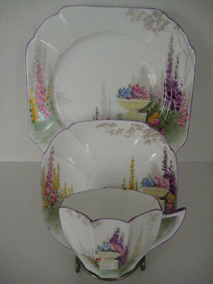 Rare Vintage Shelley Garden Urn Art Deco Queen Anne Trio Cup Saucer And Plate