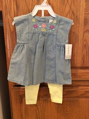 NEW NWT Girls  CARTERS Outfit 2 Piece Blue Top Yellow Leggings 12 Months